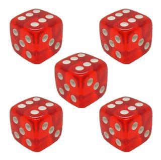 Dado Translúcido Vermelho D6 - 16mm - Kit com 5 Unidades