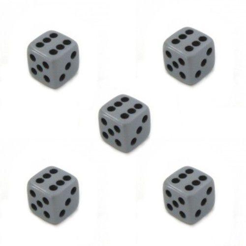 Dado D6 Cinza - Kit com 5 Unidades