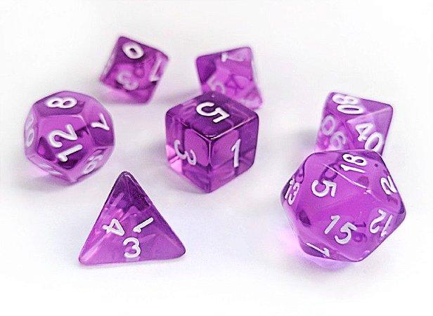 Dados para RPG Translucido - Roxo - Conjunto com 7 peças