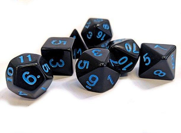 Dados para RPG Linha Black - Azul - Conjunto com 7 peças