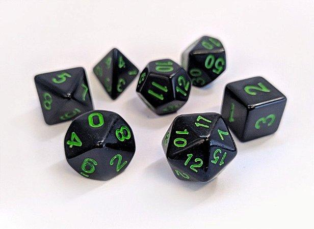 Dados para RPG Linha Black - Verde - Conjunto com 7 peças