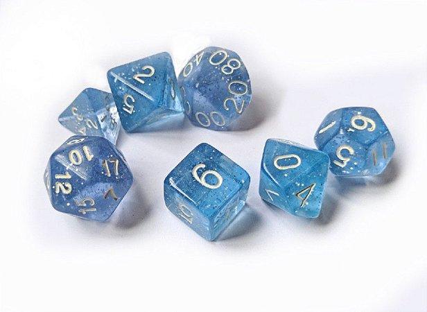 Dados para RPG Linha Glitter - Azul Claro - Conjunto com 7 peças