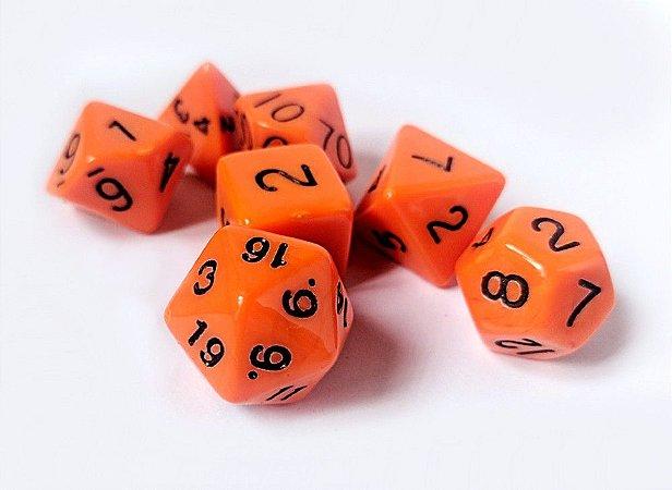 Dados para RPG Linha Solid Color - Laranja - Conjunto com 7 peças