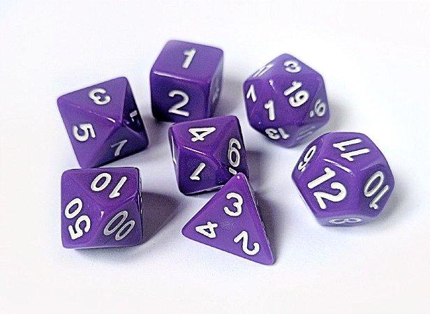 Dados para RPG Linha Solid Color - Roxo - Conjunto com 7 peças