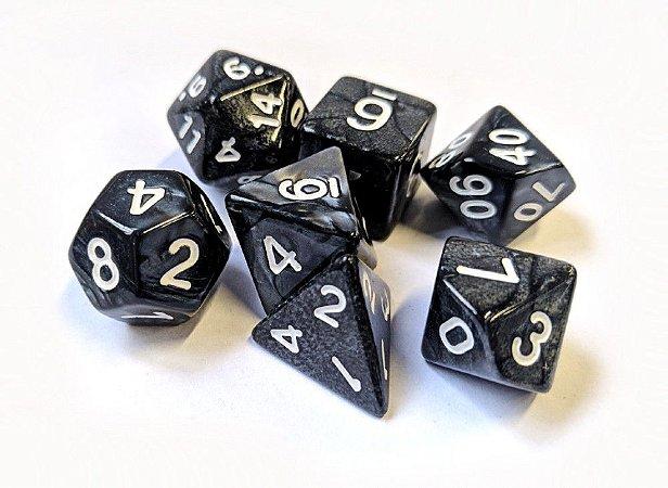 Dados para RPG Linha Marmorizados - Preto- Conjunto com 7 peças
