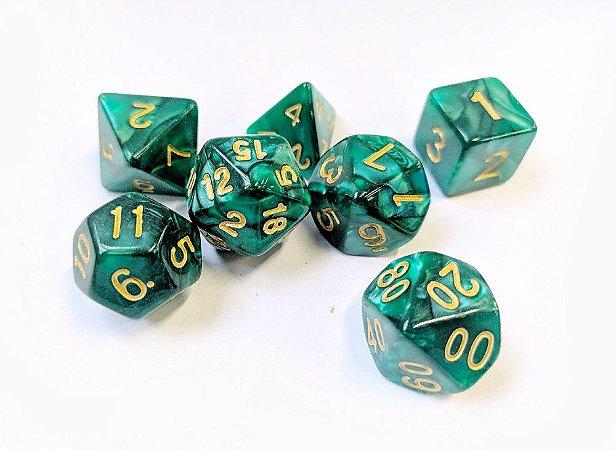 Dados para RPG Linha Marmorizados - Verde Escuro - Conjunto com 7 peças