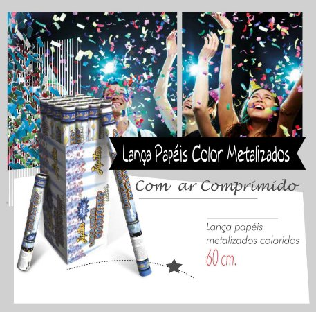Lança Papeis Metalizados Coloridos 60 cm