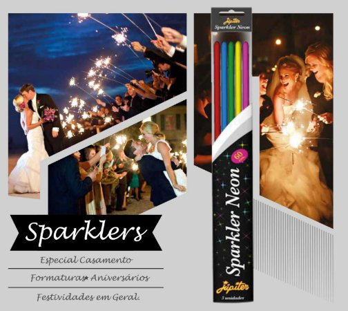 Velas Sparklers Neon 60 cm para Festas e Eventos