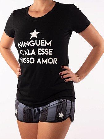 Camisa Baby look Casal Wod  - Niguém cala esse nosso amor (Preta)