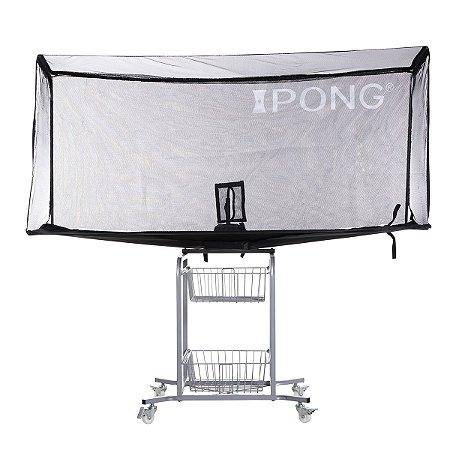 Rede aparadora de bolas com suporte, rodas e cestas - iPong