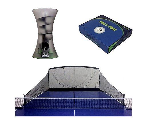 KIT: Robô de Treinamento de Tênis de Mesa iPong Expert + Rede aparadora de bolas - iPong + Bola para tênis de mesa iPong Poly Pro 40+ com 20 unidades