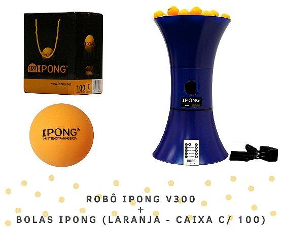 KIT: Robô iPong V300 + Bolas iPong (laranja - caixa c/ 100)