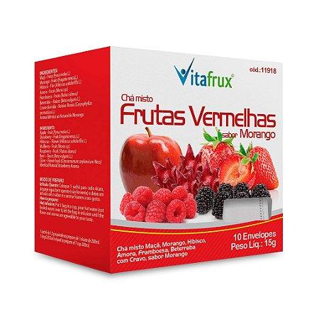 Chá Misto de Frutas Vermelhas sabor Morango - Vitafrux - 10 Sachês