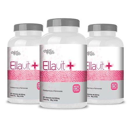 Combo 3 Potes - Cápsulas Ellavit+ - 60 cápsulas - ClínicMais