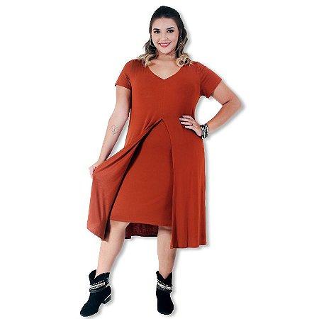 Vestido Plus Size Aberto na Frente Caramelo