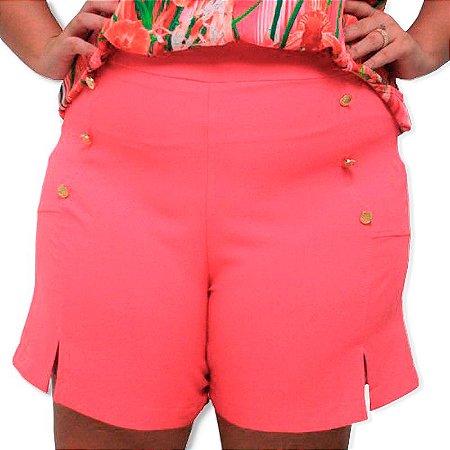 Short Plus Size Pink Com Botão