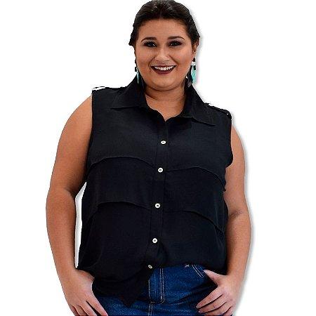 Blusa Regata em Chiffon Crepe com Babado Plus Size - Preta