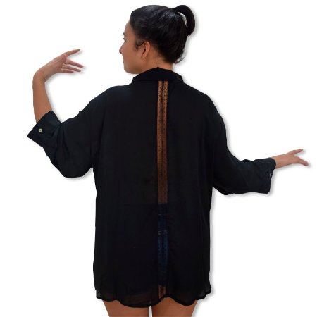 Camisa Chiffon Plus Size - Preta