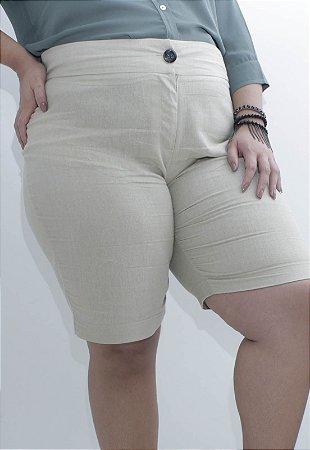 Short de Linho Cru Plus Size