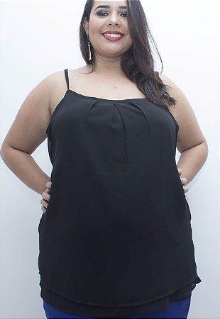 Regata Chiffon Plus Size - Preta