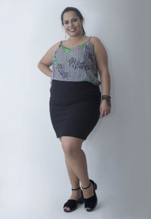 Regata Estampada Plus Size - Verde/Preto