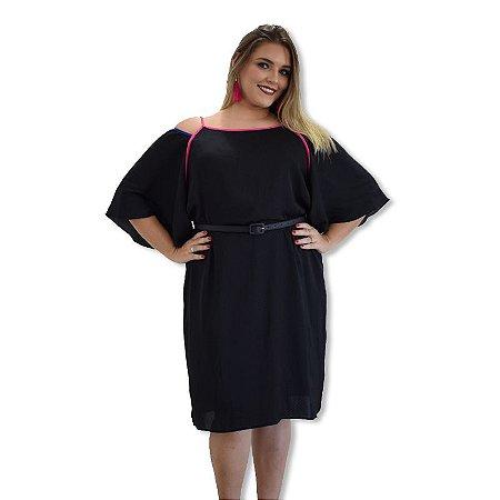 Vestido de Cetim Plus Size - Poá Preto