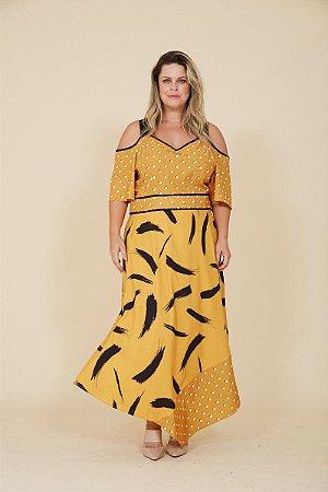 Vestido Plus Size Midi amarelo/preto