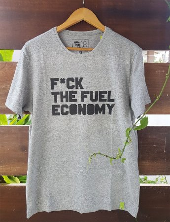 Camiseta Fuck the Fuel Economy Cinza Mescla