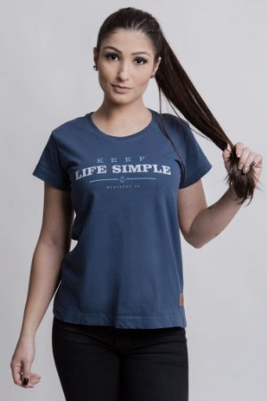 Camiseta Feminina Keep Life Simple Azul Marinho