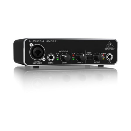 Interface de Áudio Behringer USB U-Phoria UMC22 16-bit/48 kHz com pré Midas