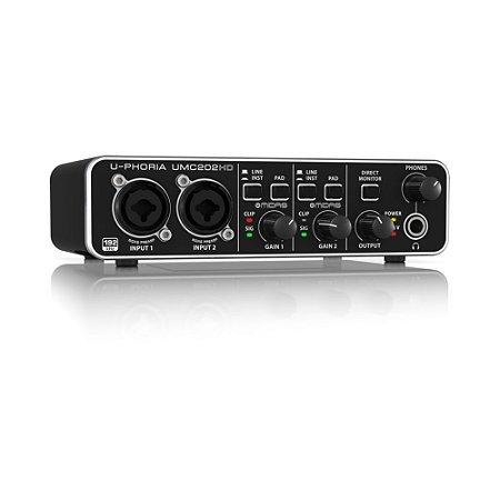 Interface de Áudio USB e MIDI Behringer U-Phoria UMC202HD 24-bit/192 kHz com pré Midas