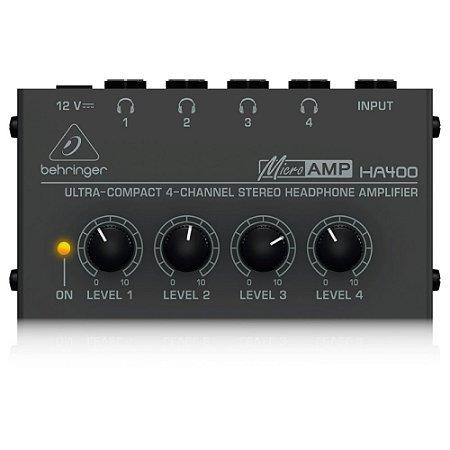 Amplificador de Fones de Ouvido PowerPlay Behringer HA400 c/ 4 canais