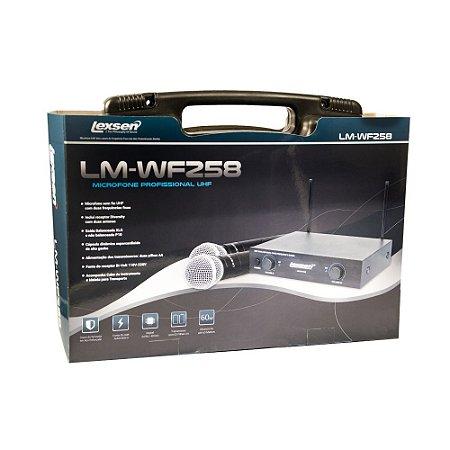 Microfone sem fio duplo de mão UHF Lexsen LM-WF258 com dois bastões