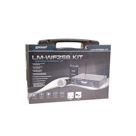 KIT Microfone sem Fio UHF Lexsen LM-WF258 KIT com bastão, headset e lapela