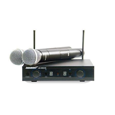 Microfone sem fio duplo de mão UHF Lexsen LM-WM258 multifrequência com dois bastões