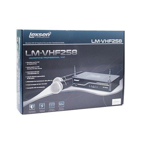 Microfone sem fio duplo de mão VHF Lexsen LM-VHF258 com dois bastões