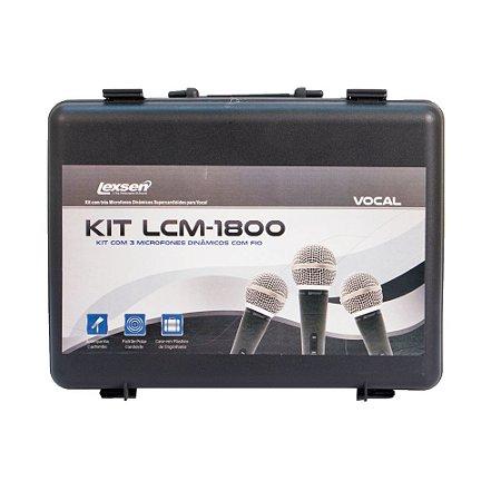 KIT com 3 microfones profissionais Lexsen KIT-LCM1800 supercardióide