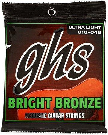 Encordoamento para Violão de Aço GHS BB10U Ultralight Série Bright Bronze