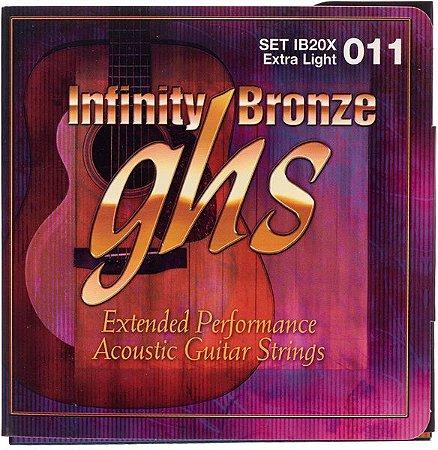 Encordoamento para Violão de Aço GHS IB20X Extralight Série Infinity Bronze