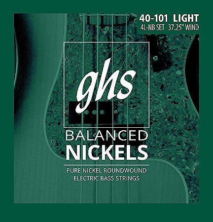Encordoamento para Contrabaixo GHS 4L-NB Light Série Balanced Nickels (contém 4 cordas)
