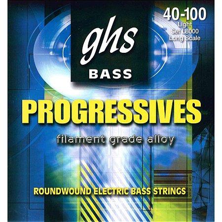 Encordoamento para Contrabaixo GHS L8000 Light (Escala Longa) Série Bass Progressives (contém 5 cordas)