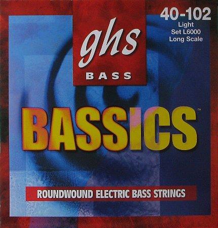 Encordoamento para Contrabaixo GHS L6000 Light (Escala Longa) Série Bassics (contém 4 cordas)