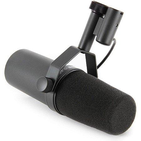 Microfone para Voz Shure SM7B Dinâmico Cardioide com Anti-Puff e Suporte
