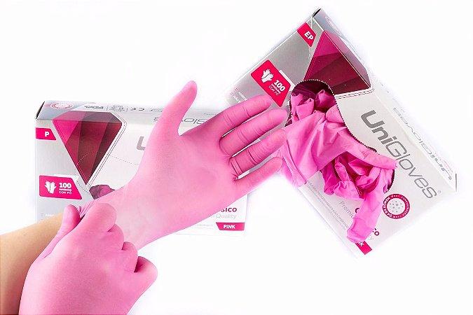 Luva Proc. de Látex Rosa Com Pó-Unigloves