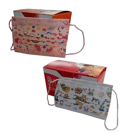 Máscara Infantil Descartável em TNT Tripla Com Elástico Caixa 50 unidades
