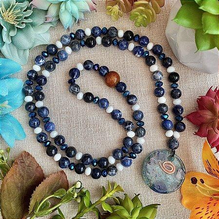 Colar de Sodalita com Orgonite de Quartzo azul - Paz, Transmuta Ansiedade, Calma e Clareza Mental