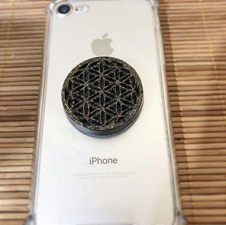 Orgonite Bloqueador de Radiação Flor da Vida - Para celulares e Tomadas - com Turmalina Negra