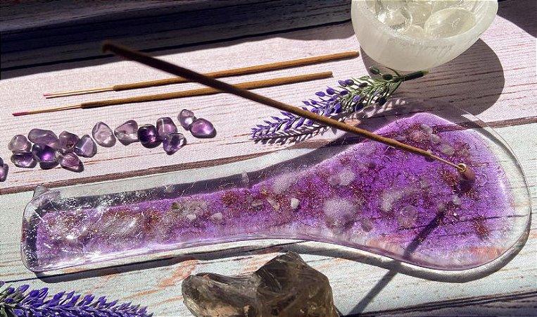 Incensário Orgonite Transmutador Chama Violeta - com Amestista