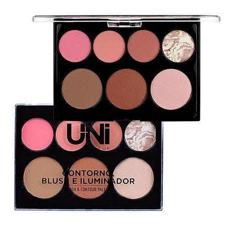 Paleta de Contorno Blush e Iluminador - Uni Makeup