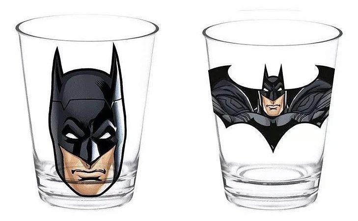 Set com 2 Copos de Vidro WB Core Batman Preto - 7,9 x 5 x 13 cm - 300 ml - Batman